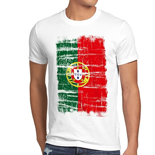 CottonCloud Portugal Vintage Flagge Herren T-Shirt EM WM Olympia, Gr��e:S;Farbe:Wei� - Meisterschaft Vintage-t-shirt