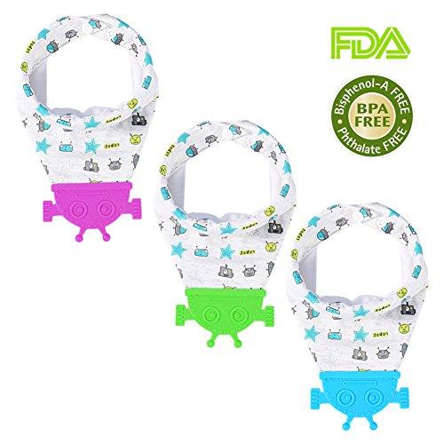 3PCS Baby Bandana Lätzchen Set mit Silikon Beißring, Säugfähig Sabberlätzchen Dreieckstuch Halstücher aus Baumwolle für Baby von 3-36 Monaten