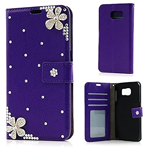 Mavis's Diary S6 Case, Galaxy S6 Case - Samsung Galaxy S6 Case PU Leather Bling Gems Diamond Wallet Case Cover with Inner Hard PC Protective Cover Holster Bumper Flip Crystal Diamond Flowers Cover for Samsung Galaxy S6 - Purple