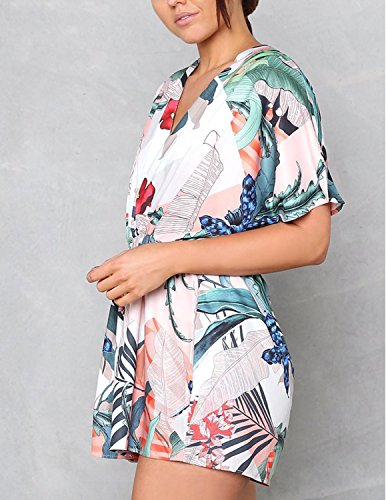 Modetrend Femme Boho Sarong Combishort Manches Court Imprimé Floral Col V Profond Jumpsuit Romper Combinaison Short Plage Multicolore