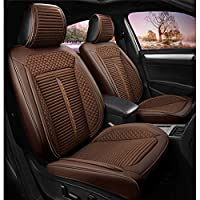 HAMIMI Car Seat Cover Linen Leather Four Seasons Pad Compatible Airbag Seat Protector Front And Rear Seat 5 Seat Full Set Of Universal Seat cover (Color : Brown)