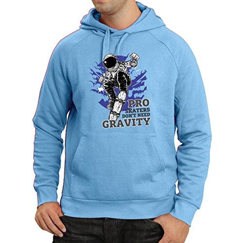 lepni.me Kapuzenpullover Pro Skaters Don't Need Gravity - Skateboard Sprüche, Skate Leben Zitate (Large Blau Mehrfarben)