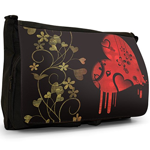 Nero cuori borsa scuola grande nero Angel Hearts Beautiful Pattern Of Hearts, Circles & Flowers