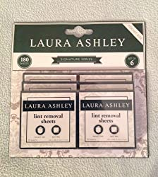 Laura Ashley Adhesive Lint Removal Sheets, Grey and White Damask Delancey, One Set of 6 Packets, 180 Sheets Each