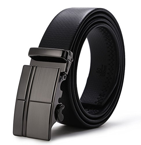 ITIEZY Herren Gürtel Ratsche Automatik Gürtel für Männer 35mm Breit Ledergürtel, Länge: Bis zu 49,21 Zoll(125cm), Schwarz
