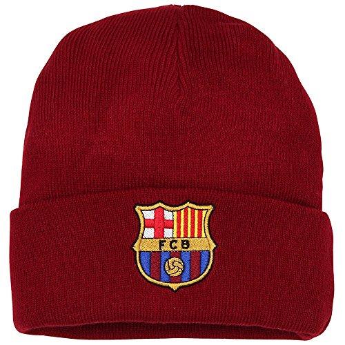 FC Barcelona Fußball Strick Turn Up Beanie Mütze (Einheitsgröße) (Burgunder)