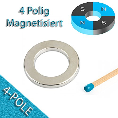 Nickel-motor (4 Poliger Ringmagnet Ø 40,0 x 25,0 x 5,0 mm N42 Nickel - diametral Neodym 4 Pole)