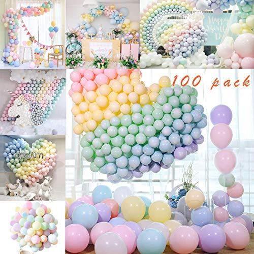 Sunshine smile Luftballons Pastell,Bunte Luftballons,Helium Luftballons,Latex Luftballons,Farbige Ballons,Partyballon,Dekorative Ballons für Hochzeit Weihnachten(100-PACK)