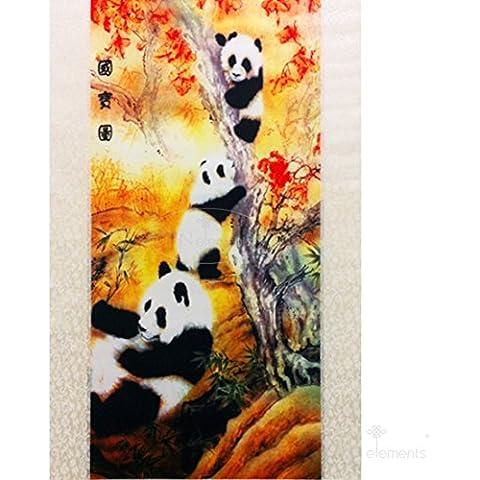 Cinese antico Decorazione da appendere da parete, motivo: calligrafia & Scroll in seta,#2, motivo: panda