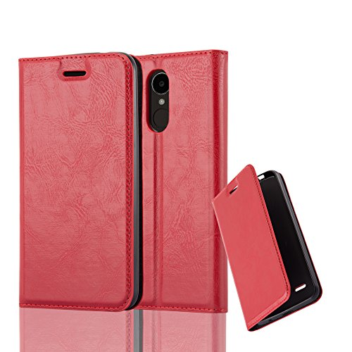 Cadorabo Hülle für LG K4 2017 - Hülle in Apfel ROT – Handyhülle mit Magnetverschluss, Standfunktion und Kartenfach - Case Cover Schutzhülle Etui Tasche Book Klapp Style