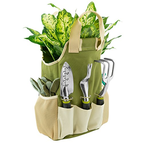 Vremi 9 Piece Garden Tool Set with Storage Tote and Work Gloves – Gardening Tools inc. Hand Weeder Rake Planter and Pruning Shears – Gardening Tool Kit also has 25 oz Sprayer Bottle