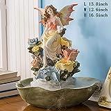 Statue Fontana da Tavolo,Fontana dell'angelo Giglio Fiore d'Acqua Resina Acqua Decorazione Fontana a Cascata per Desktop Casa Gioielli creativi Regali di Nozze-Giallo 16.5pollice