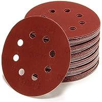 10pieza excéntrico abrasivos (Diámetro de 125mm, granulados P40P1200| 8agujeros en rojo | óptimo para lazos, uso universal, velcro lija adhesivas