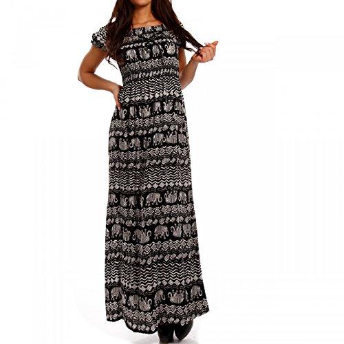 Young-Fashion Damen Maxikleid Kleid Carmen Ausschnitt Kleid Lang, Farbe:Mehrfarbig/Model4;Größe:34/36