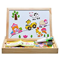 Covvy Wooden Magnetic Puzzle Board Toys for Kids,Double Face Jigsaw & Drawing Easel Chalkboard Educational Learning Toys Puzzle Games Writing Sketchpad for Childrens Age 3+