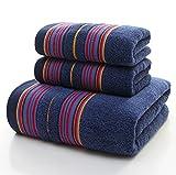 JUNHONGZHANG 3-TLG Luxus Dunkle Farbe Dicker Handtuch Set 1* Badetuch 2 * Handtücher Baumwolle Absorption Männer Handtücher Bad/Camping Dusche, Blau