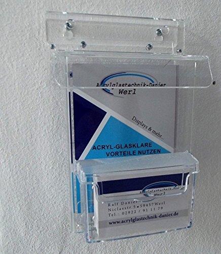 DIN A 6 Flyerbox Prospekt Box mit Visitenkarten Box wetterfest aus Acrylglas