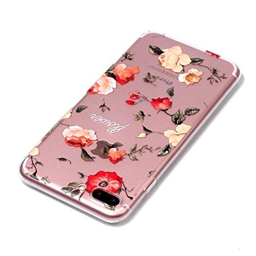 iPhone 7 Plus/iPhone 8 Plus Coque, Voguecase TPU avec Absorption de Choc, Etui Silicone Souple Transparent, Légère / Ajustement Parfait Coque Shell Housse Cover pour Apple iPhone 7 Plus/iPhone 8 Plus  flower 03