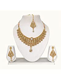 Vipin Store Sliver & Golden Color Stone And Kundan Gold Plated Jewelery Set