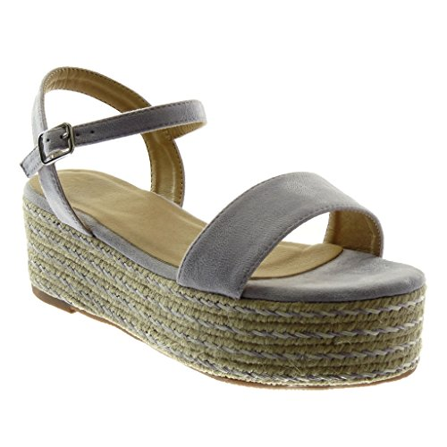 Angkorly Chaussure Mode Sandale espadrille plateforme femme corde tréssé lanière Talon compensé plateforme 6 CM Lilas