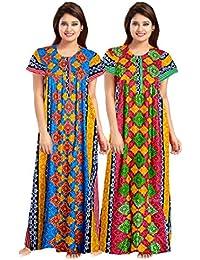 Mudrika Women's Cotton Nighty, Nightdress (Mulicolor) Pack of 2 Pcs