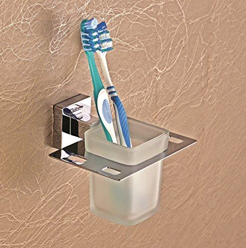 EMBROS Mastepiece Brass Toothbrush Holder – Brass Bathroom Tumbler Holder QUBIX
