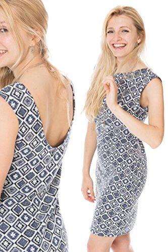 GoFutureWithLove -  Abito  - Maniche corte  - Donna Blau mit Weiß plus Muster