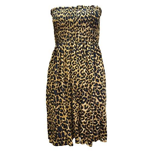 Nuovo Da Donna Sottile Top Senza Spalline Abito A Fascia Top Jersey Da Donna Taglie Forti Boobtube Maglia Vestito UK 8-22 Leopard