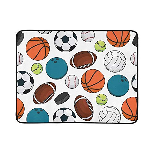 EIJODNL Ice Hockey Pucks Balls Portable and Foldable Blanket Mat 60x78 Inch Handy Mat for Camping Picnic Beach Indoor Outdoor Travel -