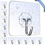 AOMEES Adhesive Hooks Heavy Duty Wall Hooks 8kg (Max) Self Adhesive Hook