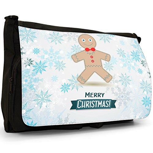 Winter Wonderland fiocchi di neve animali–Borsa Tracolla Tela Nera Grande Scuola/Borsa Per Laptop Gingerbread Man With Bow Tie