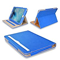 MOFRED® New Blue & Tan Apple iPad Pro 10.5 inch (Launched 2017) Leather Case-MOFRED®- Executive Multi Function Leather Standby Case for Apple New iPad 9.7