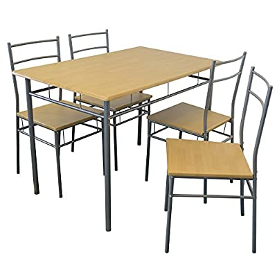 Harbour Housewares 5 Piece Kitchen Dining Table & Chairs Set - Silver - inexpensive UK dining table store.