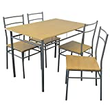 Harbour Housewares 5 Piece Kitchen Dining Table & Chairs Set - Silver