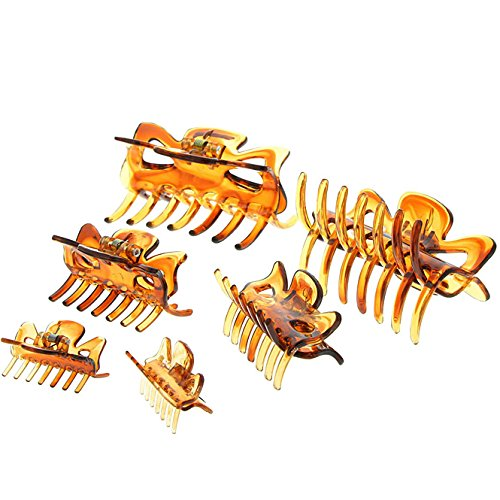 Haarklammern (braun), Abteilklammern Greifspangen, Wellenreiter für langes Haar, 3er MixSet