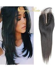 Sunny 16pouces Bresilien Vierges Lace Top Closure Raides Tissage Cheveux Partie Mediane 3.5*4pouces Noir Naturels