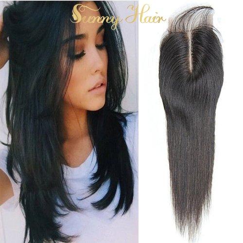 Sunny 10pouces Bresilien Vierges Lace Top Closure Raides Tissage Cheveux Partie Mediane 3.5*4pouces Noir Naturels