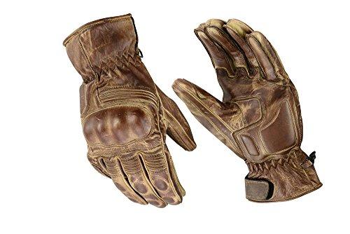 Kevlar-motorrad-leder (Motorrad Sport Racing Kevlar gewachst Leder Handschuhe Wachs Braun, L)