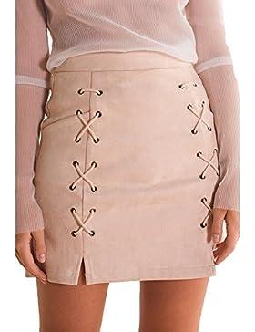 Mujeres Falda de Gamuza - Elegante Vendaje Slim Fit Minifalda con Cremallera Moda Cintura Alta A-lìnea Skirt Casual...