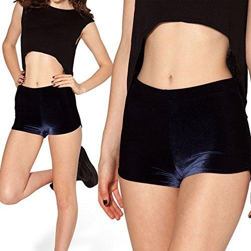 Short sexy ceinture haute extensible pour femmes Noir - Bleu