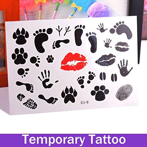 oxgrow (TM) 1 pièce Fashion amovible étanche faux tatouages temporaires autocollants Body Art Papier pied main doigt à lèvres impression femelle Tatouages