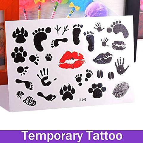 OxGrow (TM)-Tappo rimovibile impermeabile con finti tatuaggi temporanei, con corpo a piede, Tatuaggi adesivi da dito e femmina