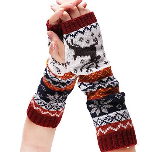 Amorar Winterhandschuhe Stricken Langen Arm wärmer Fäustlinge Fingerlose Armstulpen Daumenloch Kaltes Wetter Stulpen Pulswärmer Armwärmer Muffs