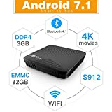Android TV Box,3 GB DDR4 RAM 32 GB eMMC Amlogic Octa Core S912 7.1 Android 4K Movies Bluetooth Smart TV Media Player HDR10 802.11 ac Dual Band WiFi LAN H.265 TV Box