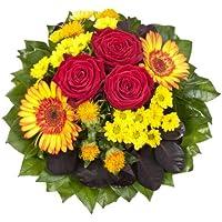 """Dominik Blumen und Pflanzen, Blumenstrauß """"Blütenmeer"""" mit roten Rosen, Färberdistel, Chrysanthemen und Gerbera"""