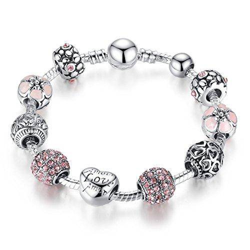 925 Silber überzogene Armband Charm mit Rosa Kristall Herz Beads Muttertag Geschenk für Frauen 20 centimetre