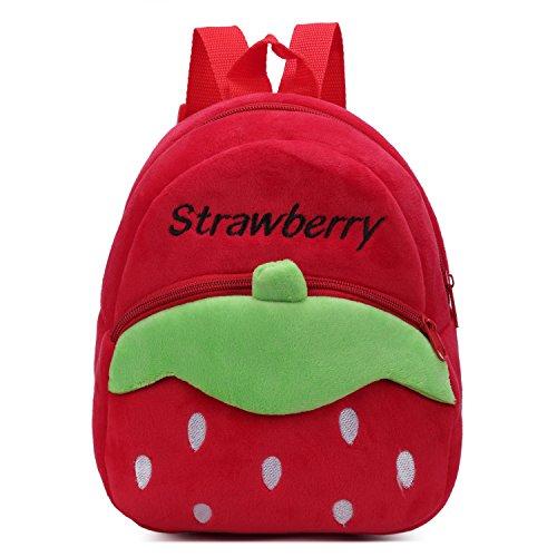 Cartoon Tasche (Nette Kleine Kleinkind Kinder Rucksack Plüsch Tier Cartoon Mini Kinder Tasche für Baby Mädchen Junge Alter 1-3 Jahre - Rote Erdbeere)