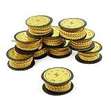 Sourcingmap Numéro 0–9 Chiffres arabes imprimés marqueurs 1 mm-PVC-Jaune