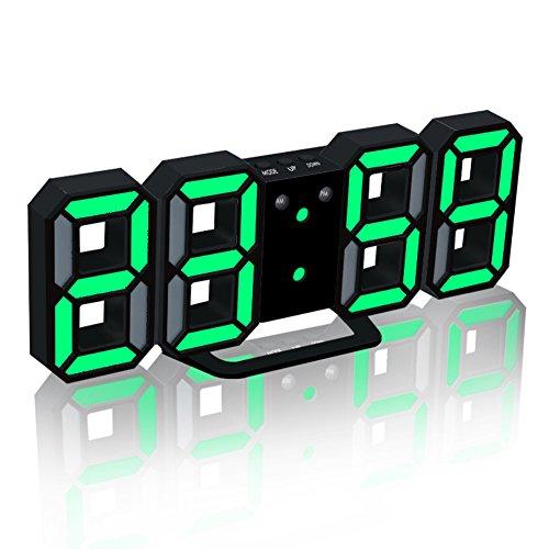 EAAGD electrónico LED despertador digital, puede ajustar automáticamente el brillo de LED (negro/verde)