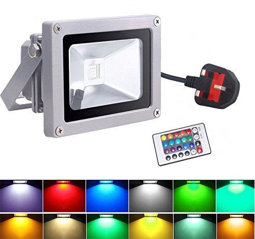 Floodlights, Dizaul 10W RGB Flood Light IP65 Waterproof Landscape Outdoor Lamp for Outdoor Lighting + 15 Keys Remote + UK plug Test